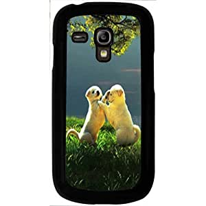 Casotec Puppy Couple Play Kids Nature Design 2D Hard Back Case Cover for Samsung Galaxy S3 Mini I8190 - Black
