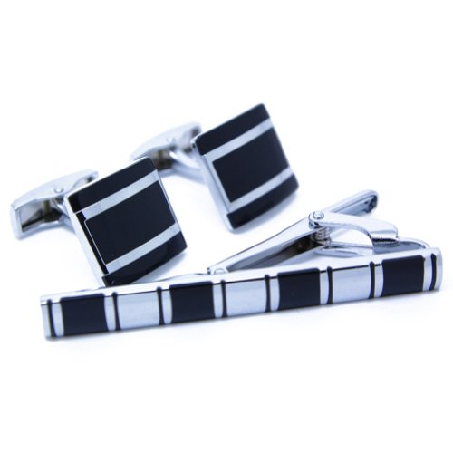 Digabi Men's Jewelry Wedding Business Suit Black Cufflinks Cufflinks and Tie Clip Color White Steel Plating Pack of 3