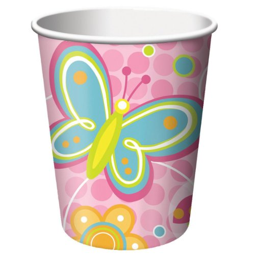 Butterflies And Flowers 9 Oz. Hot/Cold Cups - 8/Pkg