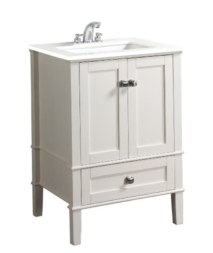 Simpli Home NL-HHV029-24-2A Chelsea Collection 24-Inch Bath Vanity, Soft White, 1-Pack