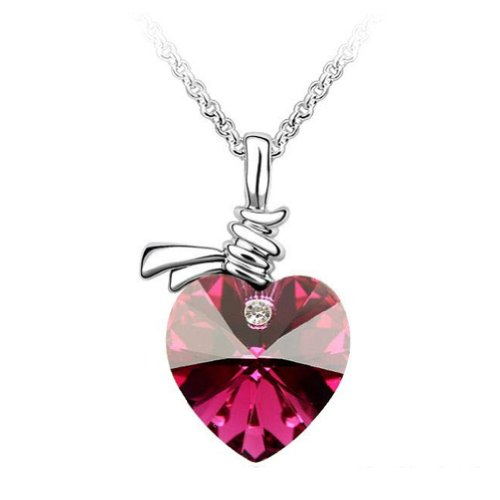 Chaomingzhen 18k White Gold Plated Fuchsia Charm Heart Shape Austria Necklace Fashion Jewerly for Women Crystal Pendant