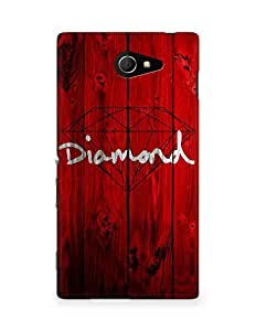 Amez designer printed 3d premium high quality back case cover for Sony Xperia M2 D2302 (Red Wooden Diamond Painting Art Drawn)