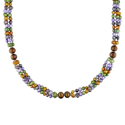 Fresh Water Multi-color Pearl Endless 3 Strand Necklace With Brass (8-9 mm)