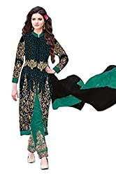 Regalia Ethnic New Collection Black And Green Embroidered Georgette Semistitched Dress Material With Matching Dupatta