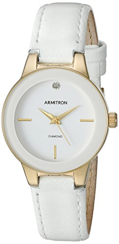 Armitron-Womens-755410WTGPWT-Diamond-Accented-Gold-Tone-and-White-Leather-Strap-Watch