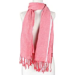 Vozaf Women's Viscose Stoles & Scarves - Red &White