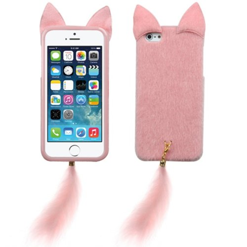 [Arena] Solid Baby Pink Fox Hybrid Cover Fuzzy Tail Hard Gel Case Case For Apple Iphone 5 5S front-766597