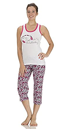 (5062DH) Dollhouse Womens Cotton I'm Not Listening Tank and Capri Set in Pink Leopard Size: 3X