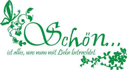 """WANDTATTOO f458 Sprüche & Zitate """"Schön …"""" 160×89 cm – grün"""