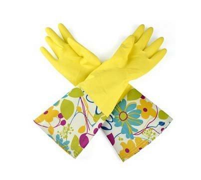 niceeshop(TM) Einzig Schicht Breit Rand Wasserdicht Antirutsch Haushalt Reinigen Gummi Latex Handschuhe,M Gelb