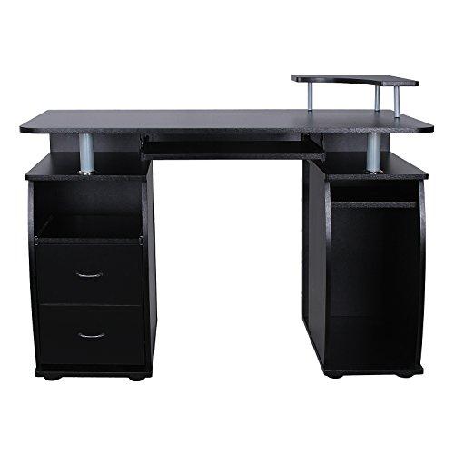 Songmics-Schreibtisch-Brotisch-XXL-MDF-Computertisch-mit-Tastaturauszug-Druckerablage-Schubladen-und-Unterschrank-115-x-85-x-55-cm-schwarz-LCD861B