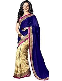 Ara Cruz Women's Satin Saree (Tamanna Saree _Blue _Free Size)