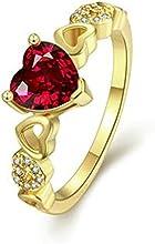 Comprar AnaZoz Joyería de Moda Anillo de Boda Para Mujer Chapado en Oro Amor Corazón Romántico Diamantes de Imitación de Cristal CZ Anillo de Compromiso