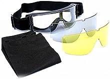 WorldShopping4U X800 de Airsoft táctico Protect Use gafas de los vidrios claro 3xLens de la motocicleta de los ojos