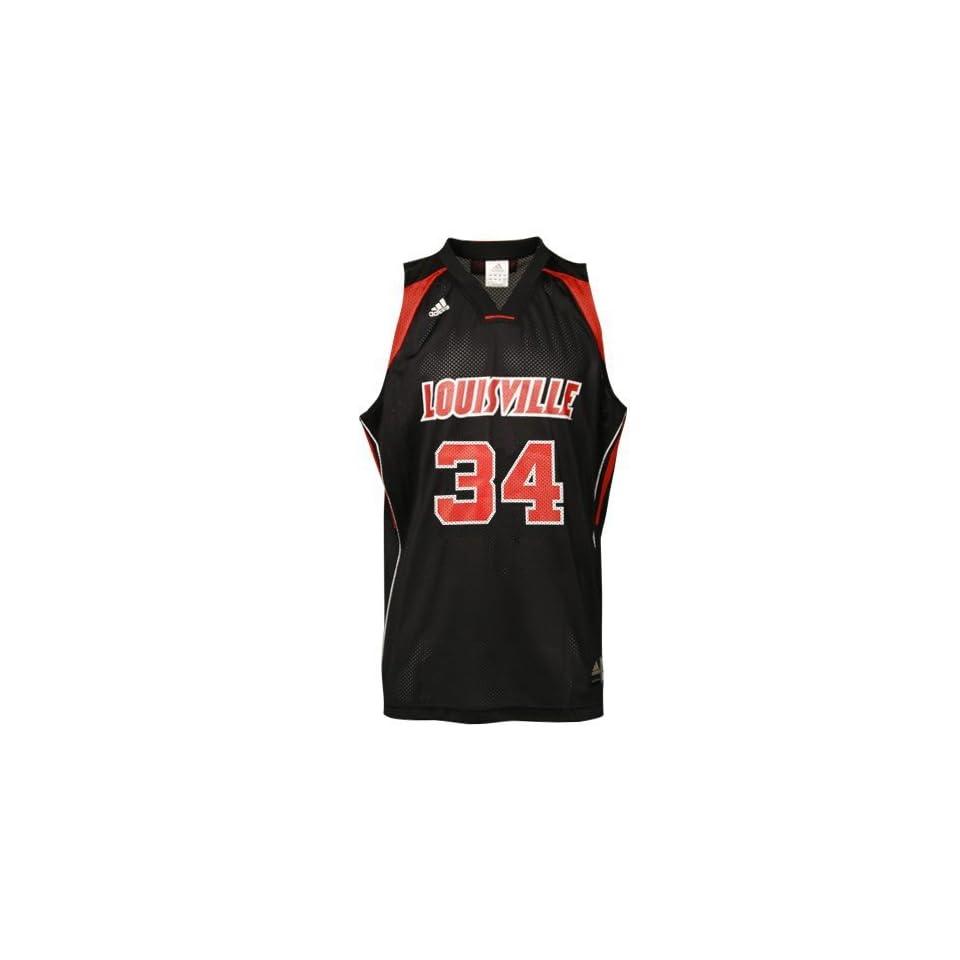 adidas Louisville Cardinals #34 Black Replica Basketball