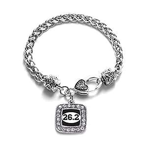 26.2 Marathon Runner Classic Silver Plated Square Crystal Charm Bracelet.