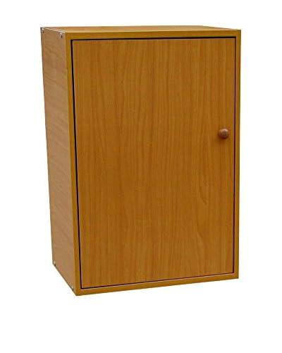 ORE International 2-Tier Adjustable Book Shelf With Door, Brown