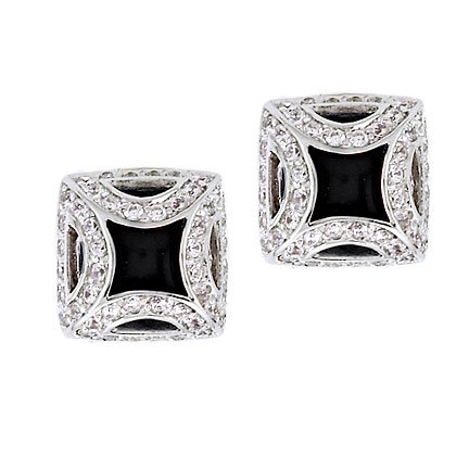 Fancy Frame Simulated Onyx C.Z. Silver Square Stud Earrings