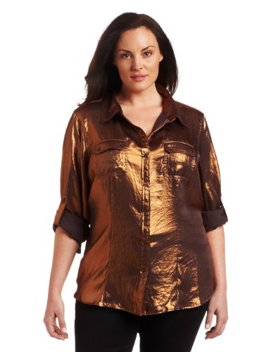 Calvin Klein Women's Plus-Size Copper Roll Sleeve Top