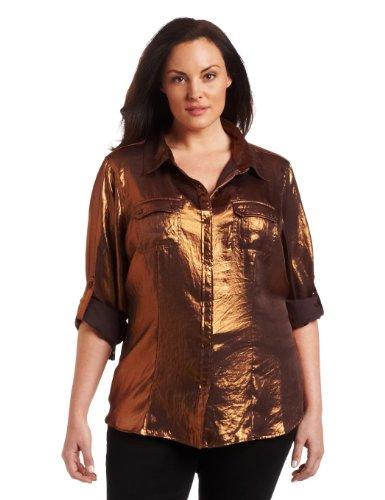 Calvin Klein Women's Plus-Size Copper Roll Sleeve Top