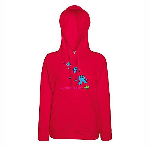 Divertente 028, Be Different, Rosso Fruit of the Loom Lady-Fit Cotone Sweat Women Donna Felpa Cappuccio Leggera con Design Colorato. Taglia XS.