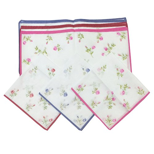 Handkerchiefs Dozen Rose Printed Pure Cotton Ladies Handkerchiefs Bulk