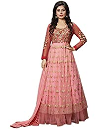 Stylish Fashion Aryan Fashion Designer Peach Pink Embroidered Anarkali Suit For Women & Girls Party Wear For Girls...