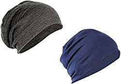 Huntsman Era Slouchy Beanie for Men and Women (Grey and Blue combo) Pack Of 2 / Beanie caps