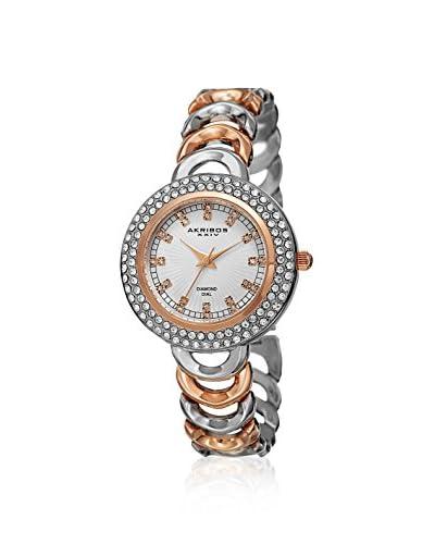Akribos XXIV Women's AK804TTR Diamond Two-Tone Rose/Silver/White Base Metal Watch