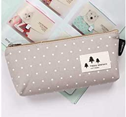 Simple cotton student stationery bags large capacity pencil Korea creative stationery pencil bags pencil cotton triangle (Polka Dot)