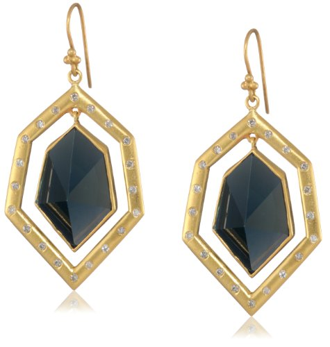 Lauren Harper Collection Deep Waters 18k Gold, London Blue Topaz and Diamond Geometric Earrings
