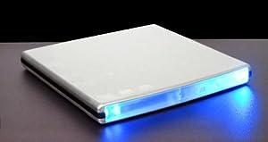 Ultra Slim External USB DVD-RW Burner Aluminum Silver Casing with Blue LED Light (Debranded)