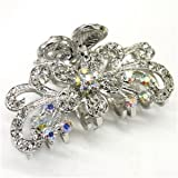 White Crystal Bronze Metal Alloy flower / butterfly hair claws clips