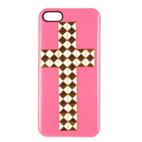 Croce con borchie a piramide Golden Custodia Cover per iPhone 5/5S---Rose Red