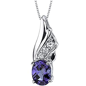Graceful Angel 1.75 carats Oval Shape Sterling Silver Rhodium Nickel Finish Created Color Change Sapphire Pendant