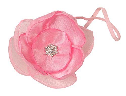PinkXenia Organza Light Pink Flower Baby Baptism Newborn Soft Headband