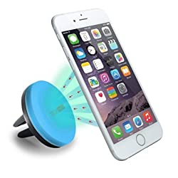 Car Mount, TechMatte MagGrip Air Vent Magnetic Universal Car Mount Holder (Blue) for iPhone 6S/6, Galaxy S6/S6 Edge, LG G4, Apple iPhone 5S 5C 5 4S, Samsung Galaxy S5 S4, Nexus 5X, HTC M9