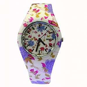 Style Gift Women Ladies Flower Print Rubber Unisex Quartz Watch SG1237-#5