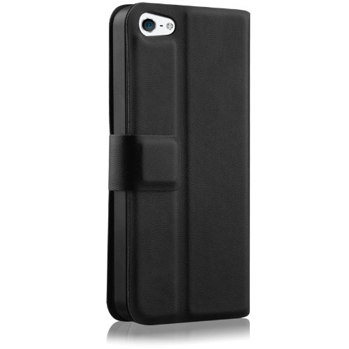 Naztech 12156 Katch Case For Apple Iphone 5 With Built-In Kickstand/Soft Interior Safeguard/Magnetic Flip - 1 Pack - Retail Packaging - Black