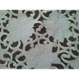 34 Square Table Topper with Cream Rose Cutwork Material by Doily Boutique