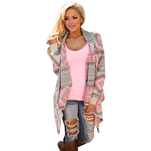 Tonsee® Women Geometric Printed Long Sleeve Cotton Kimono Cardigan Coat Cover up Tops (M)