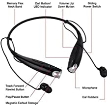 Micromax X281 Compatible Universal Bluetooth Headset with Detachable earpiece - Black