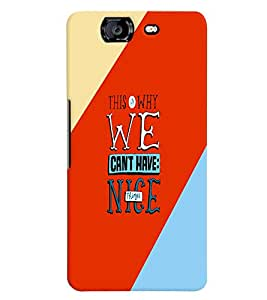 printtech Nice Things Quote Back Case Cover for Micromax Canvas Knight A350