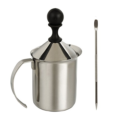 IMEEA® 200ml Heavy Duty 18/10 Stainless Steel Milk Frother + Stainless Steel Coffee Latte Art Pen Decorating Tool (400ml Container Capacity with 200ml Foam Each Time, Recommended for 2 People Use)