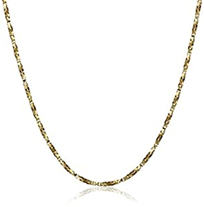 Duragold 14k Yellow Gold Polished Twisted Box Chain Necklace (1mm ), 18""
