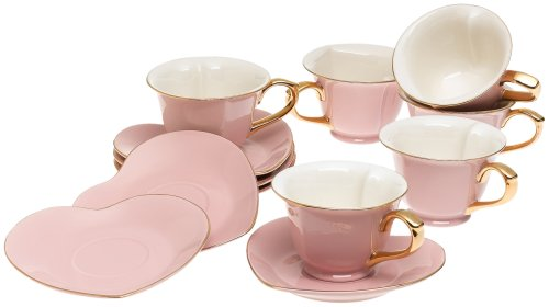 Saucer Set: Yedi Houseware Classic Coffee And Tea Inside Out Heart ...