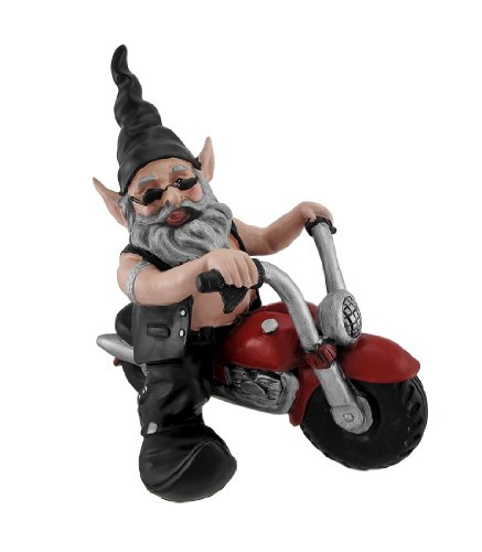 Billy the Biker Gnome on Red Motorcycle