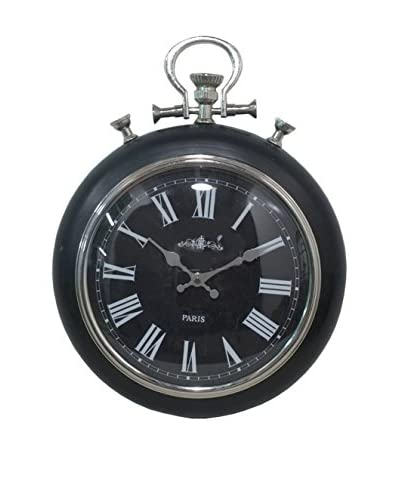 Three Hands Wall Clock, Black