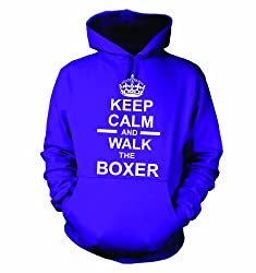 Keep Calm And Walk The Boxer Hooded Sweatshirt Hoody In Purple