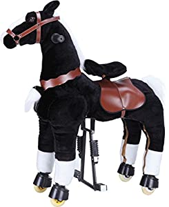Black Med Pony Rocking Horse for ages 5-10 years old Ride on Toy with Trotting Action Giddy Up Cowboy!